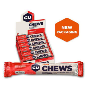 GU Energy Chews - Strawberry 54g in a portable packet to help sustain energy demands of long duration activities.Made with vegan ingredients. Rolleston Selwyn