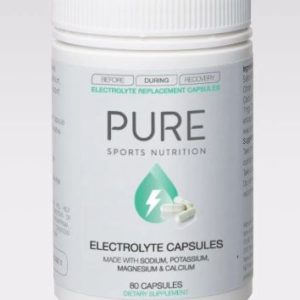 PURE ELECTROLYTE REPLACEMENT CAPSULE 80's.  These capsules are great to top up your electrolytes during hard training or racing. Recommended for endurance athletes or those requiring additional electrolytes during hot conditions.
