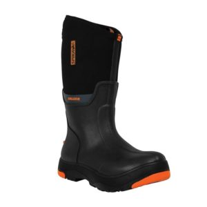 MEN'S BRUZER GUMBOOT BLACK is 100% waterproof Durable rubber with exterior 5mm neoprene upper Grab-n-go grip handleNon-slip deep tread all terrain outsole.