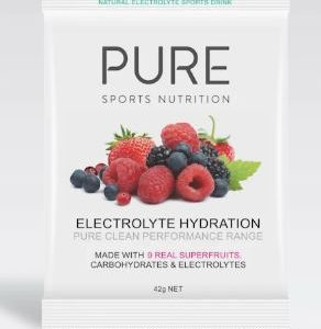 PURE ELECTROLYTE HYDRATION SUPERFRUITS 42G  is a premium natural electrolyte drink base using real freeze dried fruit, carbohydrates and electrolytes.