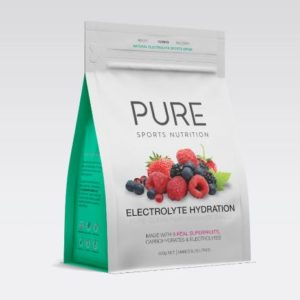 PURE ELECTROLYTE HYDRATION 500G SF is a premium natural electrolyte drink base using real freeze dried fruit, carbohydrates and electrolytes.