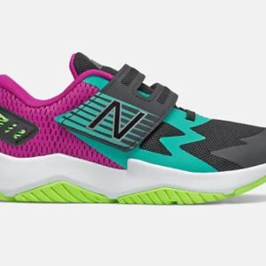 NB Girls Rave V1 sneaker for kids delivers plush comfort in a supportive shoe. The mesh upper is lightweight, breathable. Adjustable bungee closure.