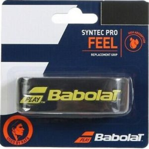 BABOLAT SYNTEC PRO BLACK/YELLOW This grip offers good absorbency and tack and is only 1.9 mm thick so you maintain a good feel for the ball.