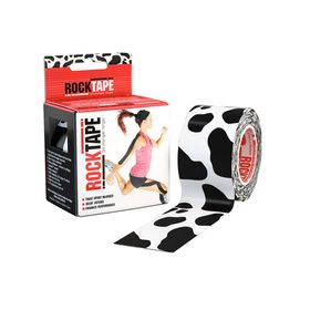 Rocktape cow logo contains the world's best kinesiology tape, designed stretchier and stickier than competitive tapes.