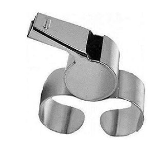 METAL FINGER WHISTLE Large. Never lose hold of your whistle now that you've got a finger grip. Great for all sports. Rolleston Sewlyn