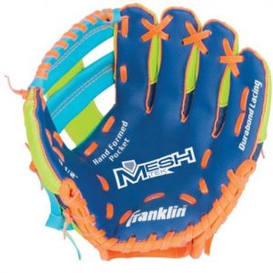 """FR Meshtek LHG 9.5"""" Blue Lime Orange glove offer an extremely fun and lightweight solution for the first-time player. Rolleston Selwyn"""