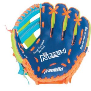 """FR Meshtek RHG 9.5"""" Blue Lime Orange glove offers an extremely fun and lightweight solution for the first-time player. Rolleston Selwyn"""